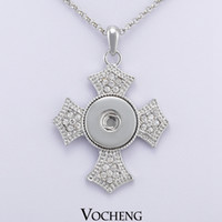 christian - Vocheng NOOSA Christian Cross Metal Ginger Snap on Jewelry Button Pendants Necklace Interchangeable Jewerly NN