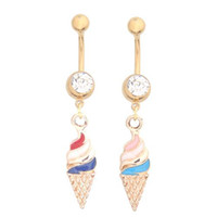Cheap New Arrivel Haagen-Dazs Navel Rings Stainless Belly Rings With Rhinestone Belly Piercing Rings Ice Cream Pattern Colorful Body Jewelry 12PCS