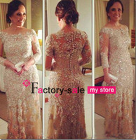 Reference Images Jewel/Bateau Lace 2014 Vestidos de Fiesta Evening Dresses Vintage Long Sleeve Beaded Champagne Lace Plus Size Prom Pageant Gowns Covered Button Back BO6410