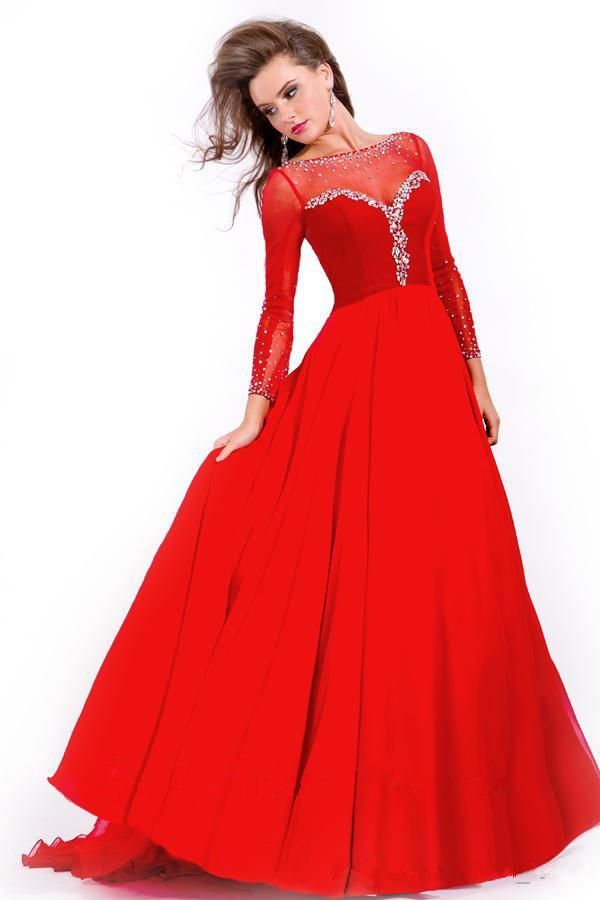 Formal Red Plus Size Prom Dresses Long Sleeve Sequin Beaded ...