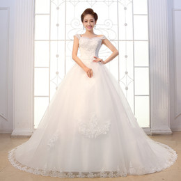 Wholesale Pure Ivory Pretty New Design Lace Wedding Dress Off The Shoulder Beads Applique Elegant Bridal Gowns Lace Up Bow On Back Crystal Gown HL839