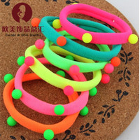 Wholesale Children s series of fluorescent color hair rope rubber band girl rivet women of color hair bands hair accessories