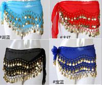Wholesale Indian Egypt Belly Dance Wear Costume Hip Wrap Scarf Gold Silver Coin Belt Waist Chain Stage Wear