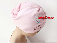 Wholesale Lady Girls Womens Pink Hair Drying Towel Hat Cap Head Wrap Quick Dry Bathing Tool