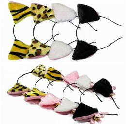 Wholesale Fashion Animal Cat Tiger Leopard Ears Animal Zoo Bell Ribbon Headband Band Fancy Dress Hair Accessories