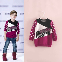 Unisex Spring / Autumn Standard Europe Children Boys Girls Long Sleeve Knitting Pullover 2014 Autumn Kids Clothing Dots Animial Woolen Yarn Tops Childs Dot SweatersH1298