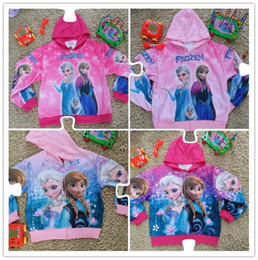 Wholesale New cartoon Frozen Girl Anna Elsa princess hoodies jacket Autumn Fall olaf children child Cloth clothes