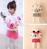 Girl Spring / Autumn Long Hot Sell Cute Girls Clothing Sets Big Polka Dots Bow Hoodies Coats + Pantskirt Skirts 2piece Set Girl autumnclothes Tracksuits Suits A753