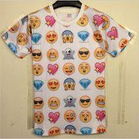 Men Crew Neck Short Sleeve Harajuku New 2014 Women Men Clothing Funny Cartoon Emoji Print 3D T Shirt Punk Camisetas O-neck Short Sleeve Tee Shirts Crop Top latest new