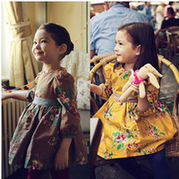 Wholesale School Girls Cotton Dress Autumn Half Sleeve Flower Print Princess Dresses Girl Children Clothing Clothing cm Brown Yellow K1043