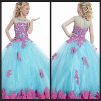 Wholesale 2014 Little Girl s Pageant Dresses Blue Grew Neck Tulle Beaded Crystal Top Princess Flower Girl Dresses