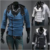 Wholesale 2014 New HOT Casual Personality oblique zipper Men s hooded Slim men s Hoodies Sweatshirts men s Jacket men s Coat colours gray