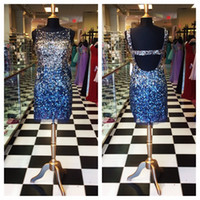 Cheap 2014 Luxury Crystal Beads Sheath Cocktail Dresses Sheer Crew Backless Short Prom Evening Gowns Homecoming Celebrity Dress Real Picture SSJ