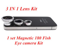 Wholesale Magnetic in Wide Angle Macro lens Fish Eye camera Kit Set for iPhone for HTC ipad Samsung