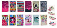 Wholesale Dream catcher Aztec Tribe Flower Love Grass Leopard OWL Leather Wallet TPU Pouch For iphone Air G TH Credit Card Stand Skin case