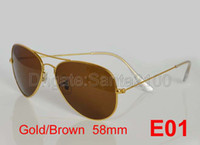 Wholesale 1pcs Designer Classic Pilot Sunglasses Men s Women s Sun Glasses Eyewear Gold Brown mm Glass Lenses With Box Exceptional Quality
