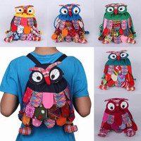 animal mix shoulder - Lovely Cartoon Cotton Owl Pattern Backpacks National Feature Unisex Kids School Bags Fit For T Children Mix Colors Choose GNN
