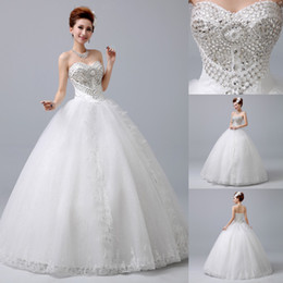 Wholesale New Cheap Real Image Crystal Sweetheart Wedding Dresses Ball Gown Floor Length Luxury Lace Appliques In Stock