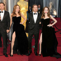Reference Images angelina jolie film - 2014 New Fashion Angelina Jolie Celebrity Dresses With Strapless Backless A Line Split Long Velvet Black Sexy Evening Prom Red Carpet Gowns