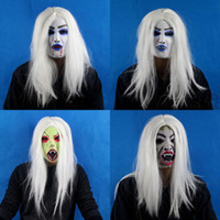 Wholesale Ghost mask Masks Party Masks Black cloth mask latex White hair female the ghost masks With a wig ghost masks Halloween mask