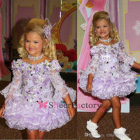 Wholesale Adorable cute lace little Girl s Pageant Dresses bateau long sleeves cupcake sequins beads ruffles short mini princess ball gowns BO6610