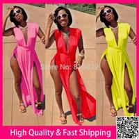 Wholesale Women Summer Dress Plus Size XXXL Clothing Sexy Vestidos Maxi Bodycon Party Club Dresses Long High Split Dress