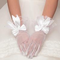 2015 Spring Bow Bridal Gloves Tulle Satin White Color Gloves...