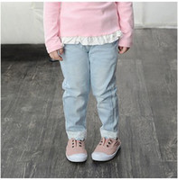 100% cotton denim jeans - Girls Denim Jeans Trousers Autumn Children Clothes Girl Long Cotton Causal Basic Pants Kids Light Blue Dark Blue T cm K1049