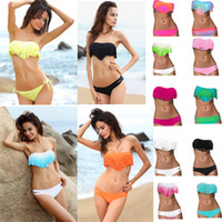 Wholesale Hot Women s Fringe Bikini Swimwear Solid Ombre Fringe Strap Halter Padded Girl Lady Swimming Swimsuit bathing Suit Top Bottom pieces