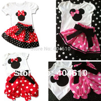 Girl Spring / Autumn Short Wholesale-In Stock Big Sale Summer Children Girl's 2PC Sets Skirt Suit Minnie Mouse baby Clothing sets dots skirt dot pants ELZ-T0224