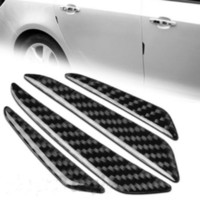 Wholesale 4Pcs Black Carbon Fiber Car Auto Side Door Edge Protection Guard Trim Sticker DH04