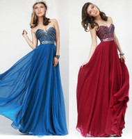 Wholesale Hot Selling Fashion Sexy Hot Sales Prom Dresses Beaded Sweetheart A Line Custom Made Long Chiffon Formal Evening Gowns