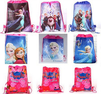 Wholesale Frozen Hangbags Anna Elsa Princess Romance Woven Double Sided Printing Drawstring Bags Cartoon Animation schoolbag Christmas Gifts