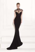 Wholesale Mermaid Evening Dress Floor length Court Train High Neck Beads Sleeveless Good Quality Appliques Y02