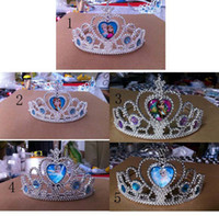 Wholesale High Quality New Frozen Anna Elsa Tiara Crown Hair Band styles can choose Shining Crystal Cubic Zirconia Paved For Children Girl