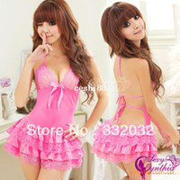 Cheap Sexy Lingerie Spring summer Sexy and the home fashion clothing pajamas bathrobe female Lace V-neck sexy lingerie pajamas QX0018