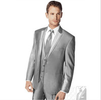 Cotton best winter clothes for men - Custom Best Selling Cheap Groom Tuxedos Prom Man for Wedding Suits Business Clothes Silver jacket pants vest tie Party Men Suit