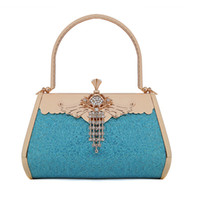 Top Handle Bags leather purse handles - 2015 Bridal Hand Bags Wedding Accessories Evening Prom Party Hand Bag Metal Crystal Retro Fashion Elegant Luxury Purse