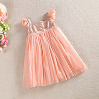 Girls Tutu Dress Summer Pleated Sleeve Sequin Princess Tulle...