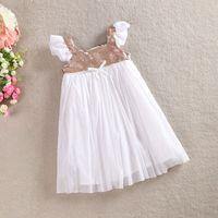 Girls Tutu Dress Summer Pleated Sleeve Sequin Princess Tulle...