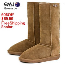Wholesale NEW EMU Bronte high leg Cow Suede Genuine with Wool inner Winter Snow Boots color emu03 freeshipping chestnut