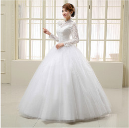 2019 new white fashionable ball gown high neck long sleeve lace stain winter vintage wedding dress