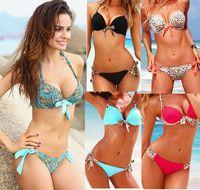 Sexy Women Push Up Bikini Swimsuit Leopard Print Padded Swim...