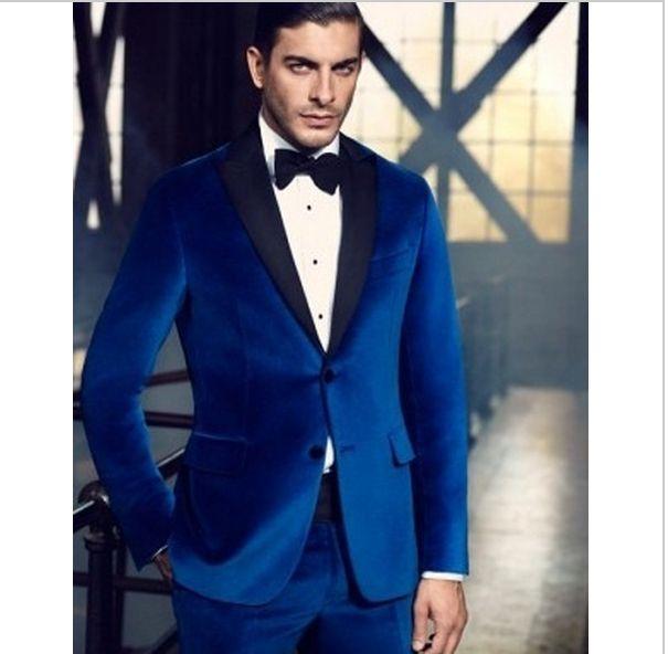Custom Made Fashion Navy Blue Peak Lapel Formal Tuxedo/Wedding ...
