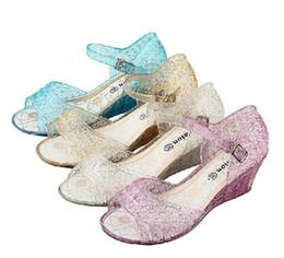 Wholesale Autumn Children Frozen Princess Sparkly Sandals Kids Girls Transparent Shoes Child Hollow Out Sequined Shoes Purple Silver Gold M1039