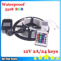 Wholesale Waterproof M Roll SMD Waterproof LEDs M LEDs RGB Flexible LED Strip Light With IR Controller and A power supply