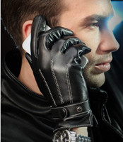 Wholesale Men s simulation real leather gloves in winter warm touch screen goat leather gloves