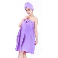 Cheap Ultrafine fiber bow with pockets bath towel bath skirt dry hair hat e334 e349