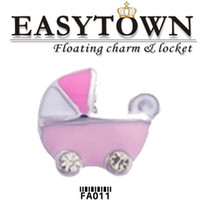 Trend baby carriage charms - Hot sale Pink baby carriage charms floating locket charm fits floating lockets