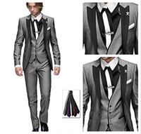 Wholesale 2016 New Design One Button Peak Black Lapel Light Gray Groom Tuxedos Groomsmen Men Wedding Suits Best man Suits Jacket Pants Vest Tie
